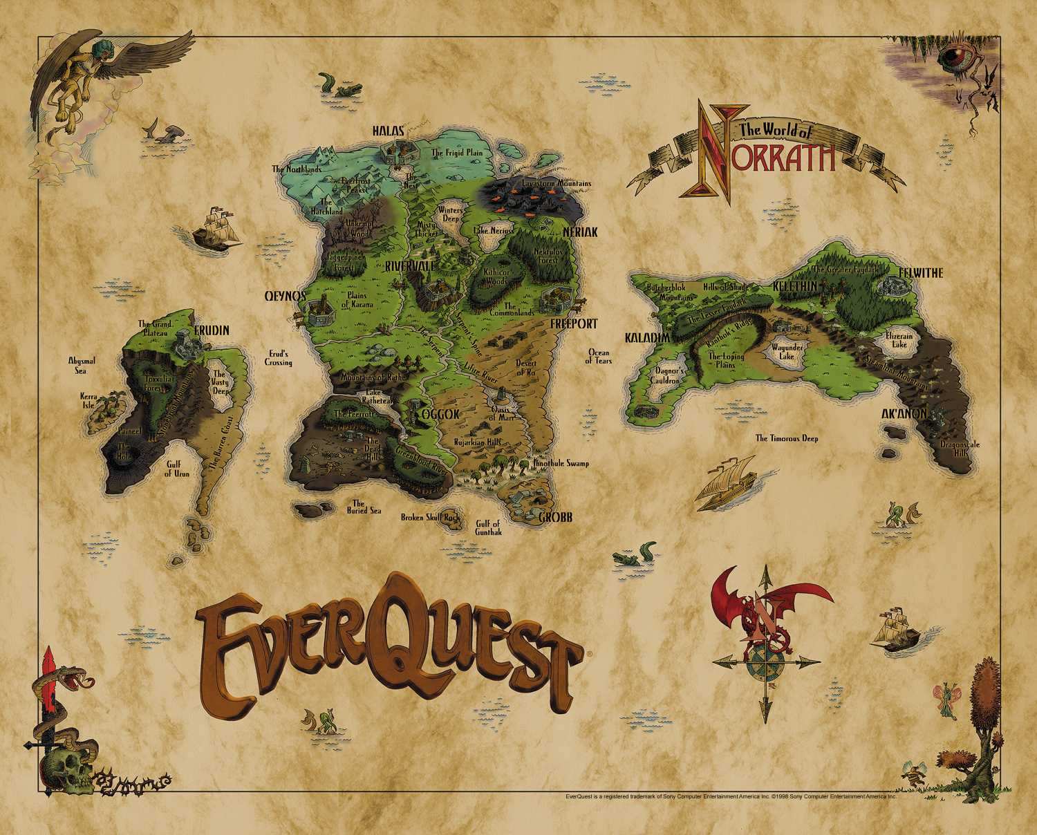 An atlas of cyberspaces muds and virtual worlds these maps show the geography of the 3d role playing adventure game everquest by 989 studios the map above shows the three continents of norrath that make gumiabroncs Image collections